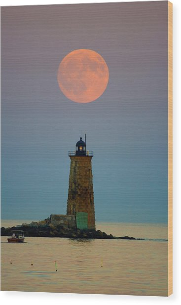 Whaleback Lighthouse Wood Print