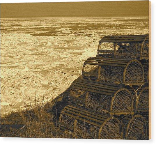 Wharf Traps Wood Print