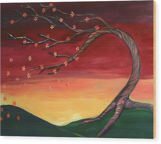Whispering Autumn Tree Wood Print by Astrid Padilla