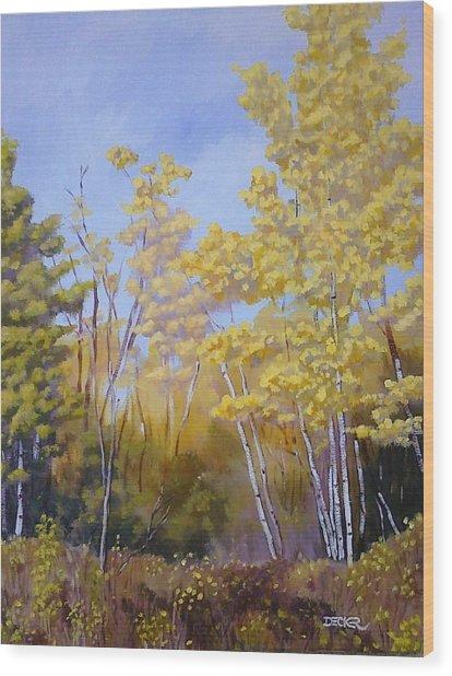 White Bark Yellow Leaves Wood Print