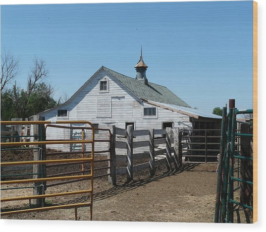 White Barn  And Corrals Wood Print by Bobbylee Farrier