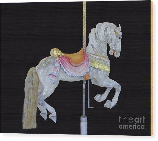 White Dappled Carousel Horse Wood Print