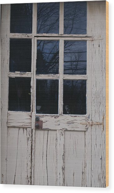 White Door Wood Print by Margaret Steinmeyer