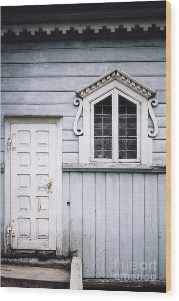 White Doors And Window On Bluish Wooden Wall Wood Print