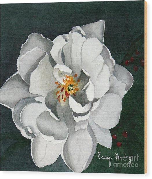 White Double Tulip Wood Print