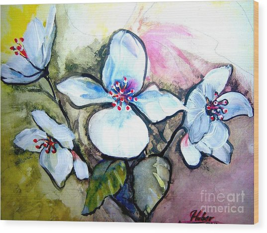 White Floral Group Wood Print by Ken Huber