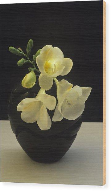 White Freesias In Black Vase Wood Print