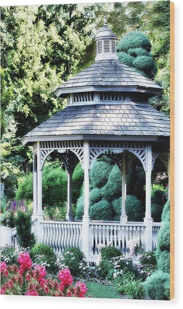 White Gazebo In Garden Paradise Wood Print
