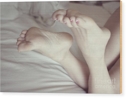White Girl Feet Wood Print by Tos Photos