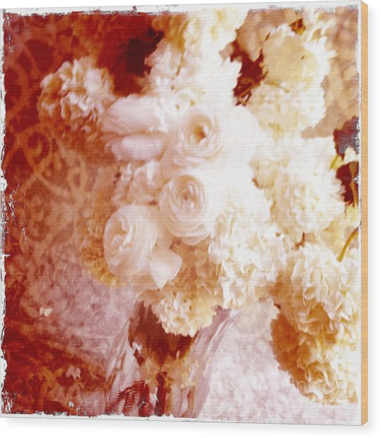 White Hydrangeas With Ranunculus Wood Print by Ruby Hummersmith