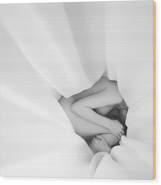White Nude Wood Print by Ovidiu Bastea