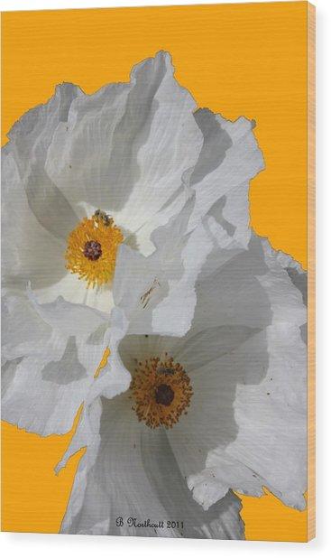 White Poppies On Yellow Wood Print