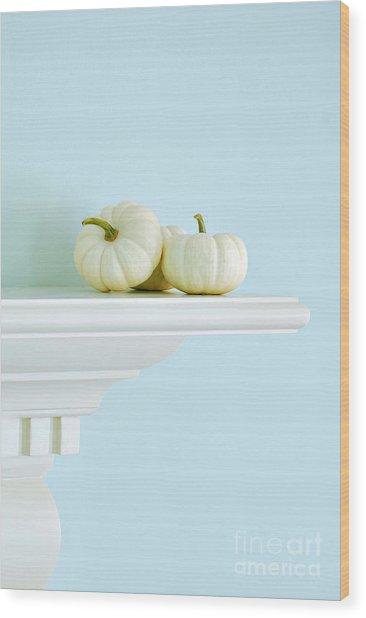 White Pumpkins Wood Print