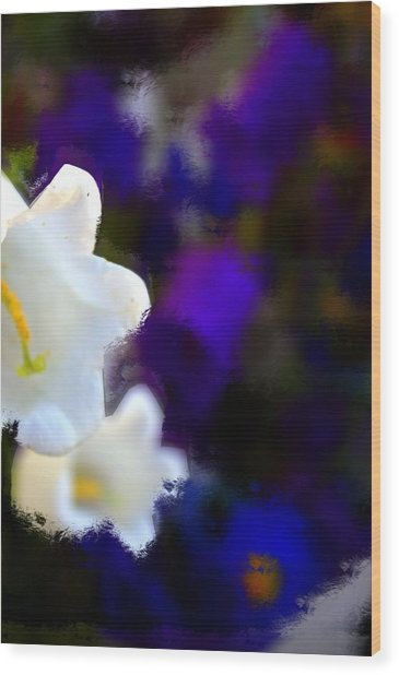 White Purple Wood Print