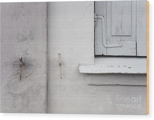 White Wall Gray Shutters Wood Print