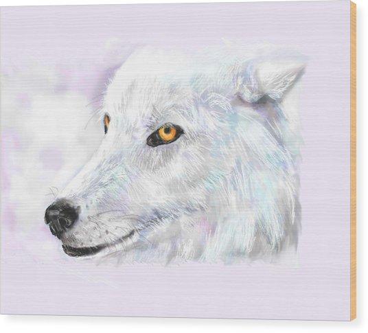 White Wolf Wood Print by Lakota Phillips