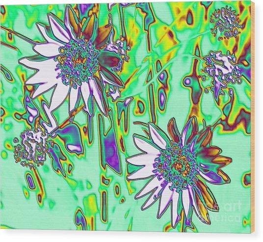 Wild Daisies Wood Print by Denise Oldridge