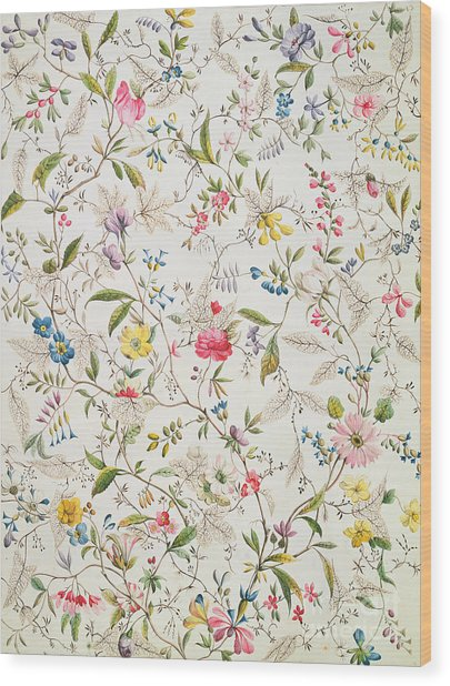 Wild Flowers Design For Silk Material Wood Print