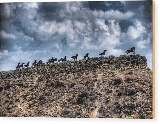 Wild Horses Monument Wood Print