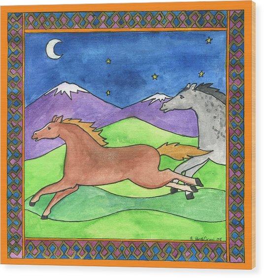 Wild Horses Wood Print by Pamela  Corwin