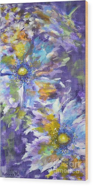 Wild Purple Roses Wood Print