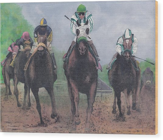 Win Place And Show Wood Print