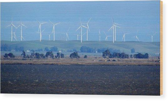 Wind Farm On The Delta Wood Print