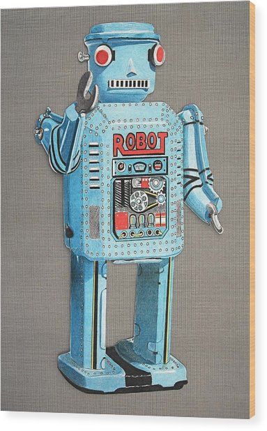 Wind-up Robot 2 Wood Print