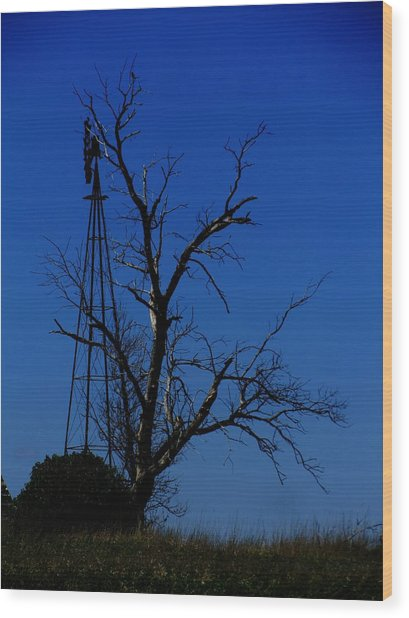 Windmill Blue Wood Print by Todd Sherlock
