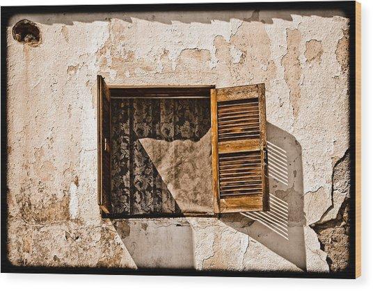 Hanioti, Greece - Window And Lace Wood Print