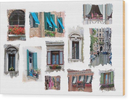 Windows Of Venice Wood Print by Judy Deist