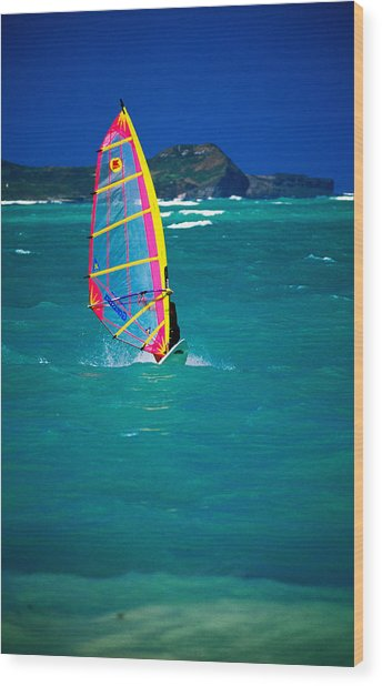 Windsurfer On The Shores Of Kailua Beach, Kailua, United States Of America Wood Print by Ann Cecil