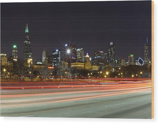 Windy City Fast Lane Wood Print