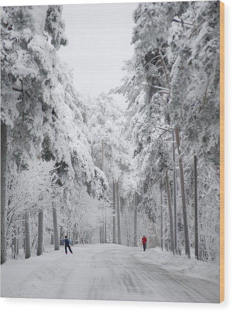 Winter Activities Wood Print