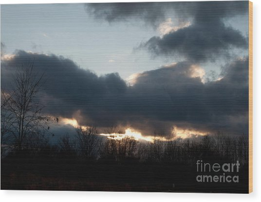 Winter Afternoon Clouds Wood Print by Gary Chapple