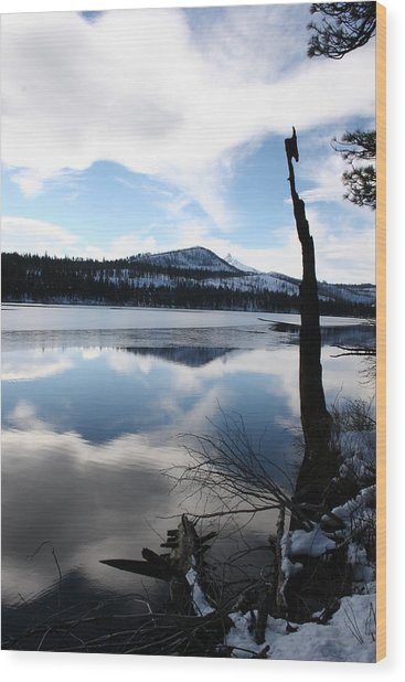 Winter At The Lake Wood Print by Ken Riddle