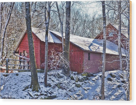Winter Barn Wood Print by Nancy Rohrig