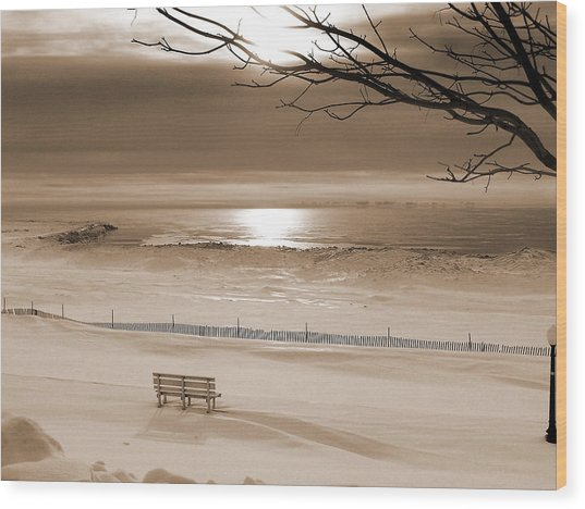 Winter Beach Morning Sepia Wood Print