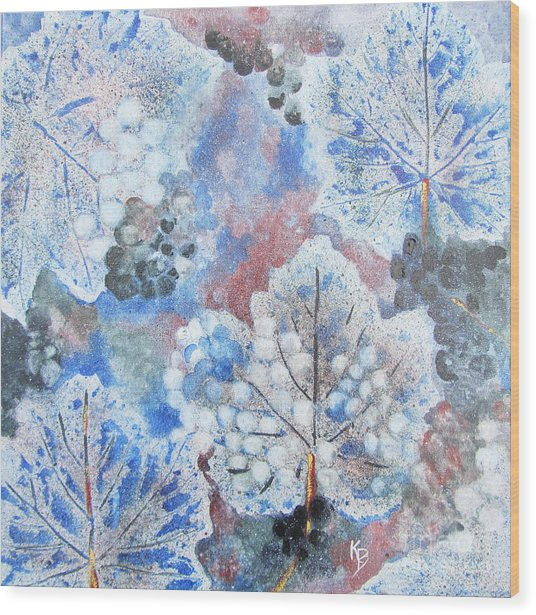Winter Grapes I Wood Print by Karen Fleschler