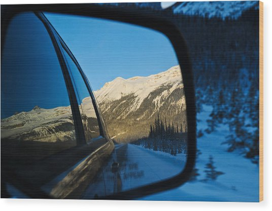 Winter Landscape Seen Through A Car Mirror Wood Print