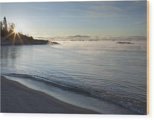 Winter Mist On Lake Superior At Sunrise Wood Print