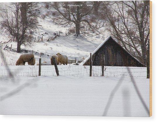 Winter On The Farm Wood Print by Carolyn Postelwait