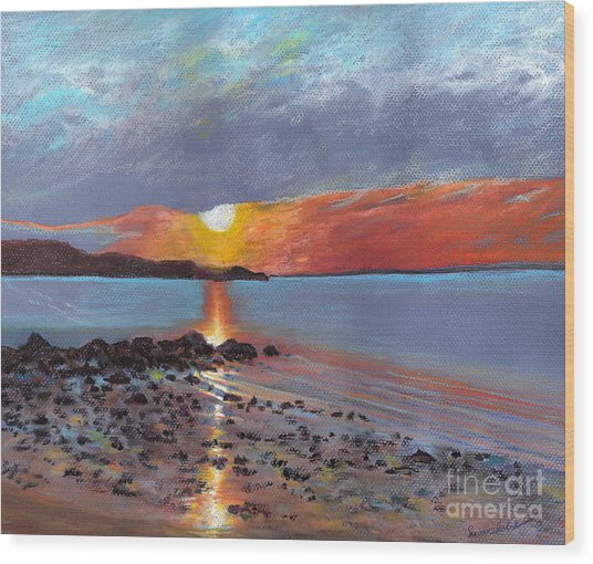 Winter Sunset Centre Island Beach Wood Print