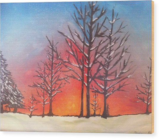 Winter Sunset Wood Print