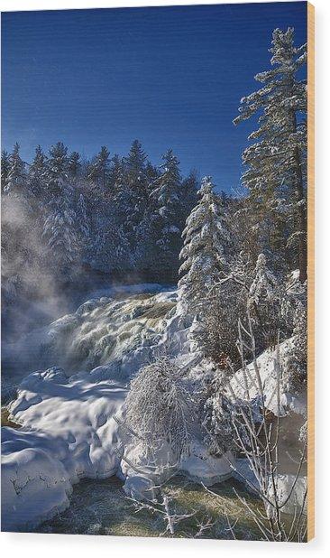 Winter Waterfalls Wood Print