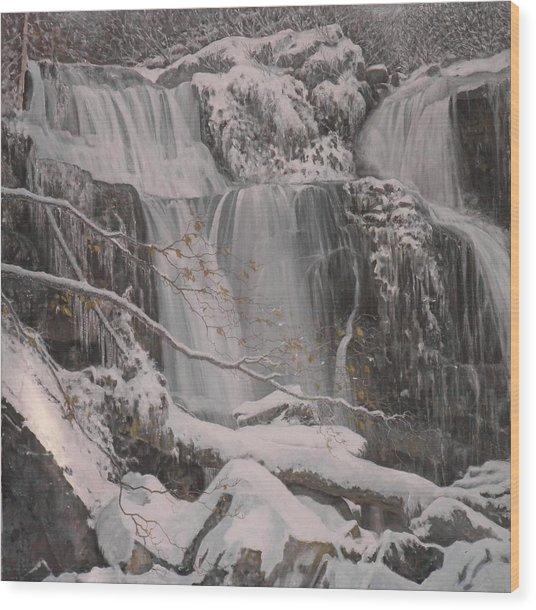 Winter Waterfalls Wood Print by Giacomo Alessandro Morotti