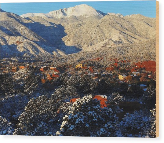Wintery Colorado Morning Wood Print