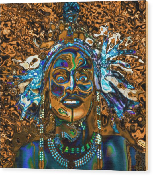 Wodaabe Blue Wood Print
