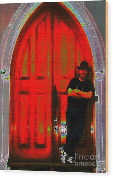 Wolf At The Door Wood Print