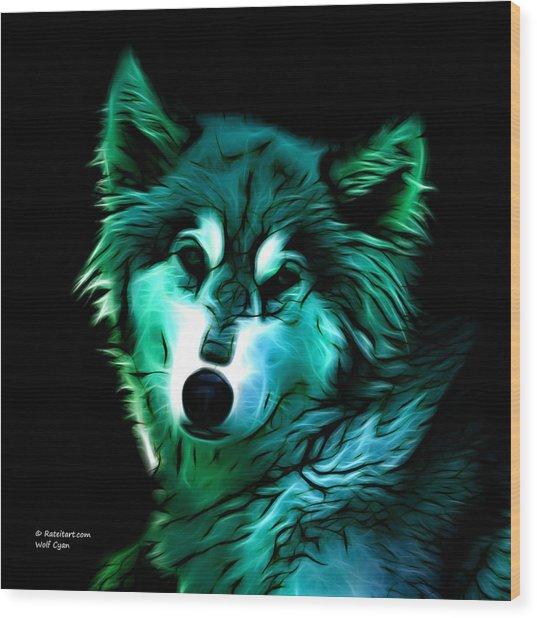 Wolf - Cyan Wood Print